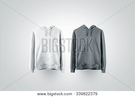 Blank White And Gray Sweatshirt Mock Up Set. Empty Teenager Sport Overall Clothe Mockup, Front View.
