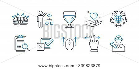 Set Of Business Icons, Such As Checkbox, Hold Heart, Algorithm, Touchscreen Gesture, Wine Glass, Sea