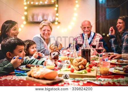 Multi Generation Big Family Having Fun At Christmas Supper Party - Winter Holiday X Mas Concept With