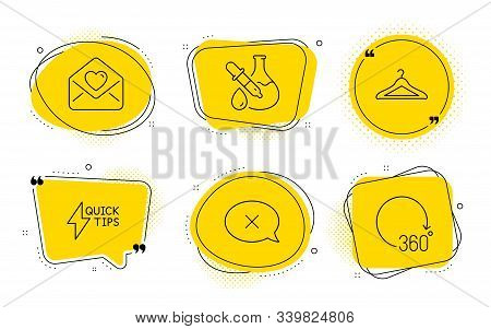 Quickstart Guide, Cloakroom And 360 Degrees Signs. Chat Bubbles. Chemistry Experiment, Reject And Lo