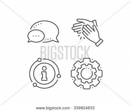 Clapping Hands Line Icon. Chat Bubble, Info Sign Elements. Clap Sign. Victory Gesture Symbol. Linear