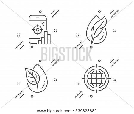 Hypoallergenic Tested, Seo Phone And Organic Product Line Icons Set. Seo Internet Sign. Feather, Sea