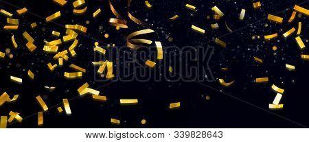 Descending Golden Shiny Confetti Isolated On Black Background. Sparkling Festive Tinsel