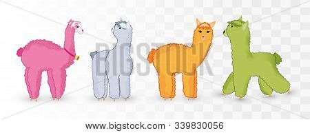 Collection Cute Lamas Isolated On Transparent Background. Colored Lamas.little Beautiful Lamas. Icon