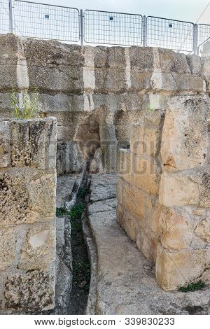Jerusalem, Israel, December 07, 2019 : Archaeological Excavations Of The Crusader Fortress Located O