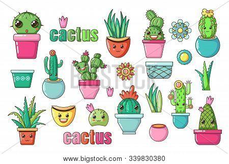 Cute Lovely Kawaii House Plants Vector Art. Flowers Cactus With Kawaii Faces In Pots. Cartoon Style