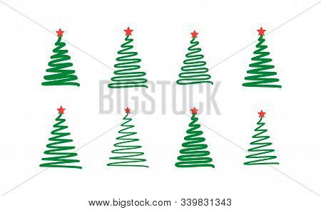 Christmas Tree. Line Draw Scribbled Stylized Set. Decorative Vector Green Red Elements Collection, H