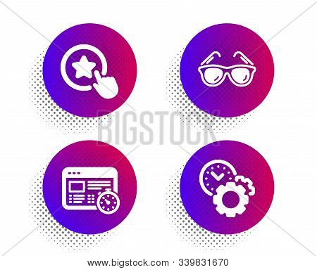 Web Timer, Loyalty Star And Sunglasses Icons Simple Set. Halftone Dots Button. Time Management Sign.
