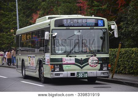 Kyoto, Japan- 24 Nov, 2019: The Kyoto City Bus Serves On The Street In Kyoto. The Kyoto City Buses A