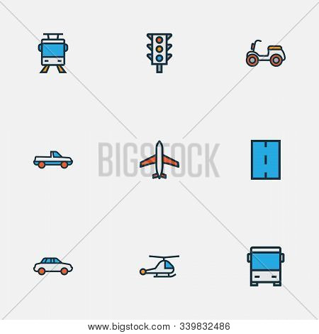 Shipment Icons Colored Line Set With Bus, Helicopter, Traffic Light And Other Way Elements. Isolated