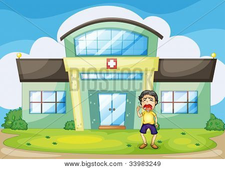 Illustration of a boy crying at hospital -