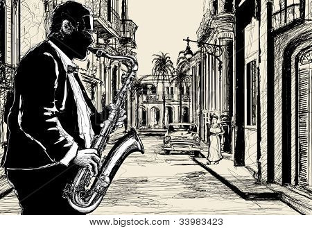 Illustration of a saxophonist in a street of Cuba