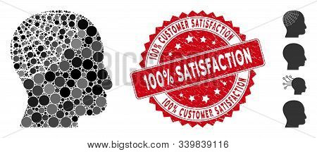 Mosaic Conservator Head Icon And Grunge Stamp Watermark With 100 Percent Customer Satisfaction Phras