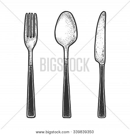 Cutlery Set Fork Knife Spoon Sketch Engraving Vector Illustration. T-shirt Apparel Print Design. Scr