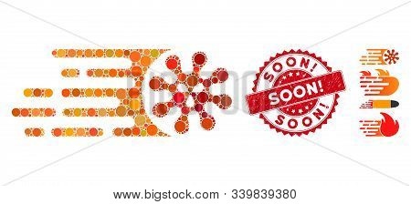 Mosaic Gone Viral Icon And Rubber Stamp Seal With Soon Exclamation Caption. Mosaic Vector Is Designe