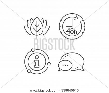 48 Hours Line Icon. Chat Bubble, Info Sign Elements. Delivery Service Sign. Linear 48 Hours Outline