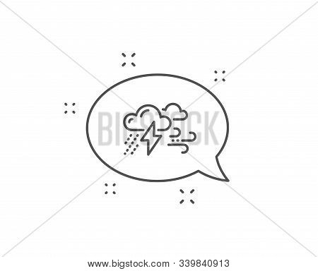 Clouds With Raindrops, Lightning, Wind Line Icon. Chat Bubble Design. Bad Weather Sign. Outline Conc