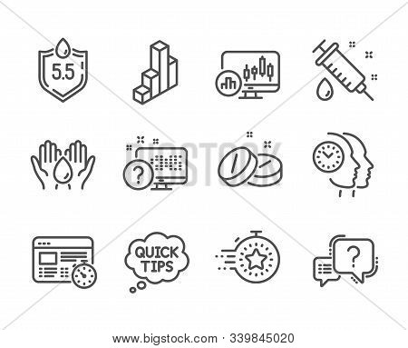 Set Of Science Icons, Such As Question Mark, Timer, Time Management, Candlestick Chart, Medical Syri