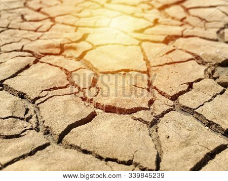 Closeup Weathered Texture And Background Of Arid Cracked Ground. Broken Dried Mud From Arid Problem.