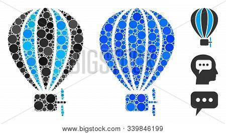 Aerostat Balloon Composition Of Round Dots In Different Sizes And Shades, Based On Aerostat Balloon