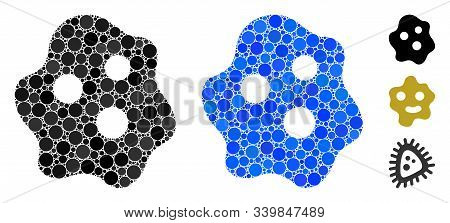 Amoeba Mosaic Of Circle Elements In Variable Sizes And Color Tinges, Based On Amoeba Icon. Vector Ro