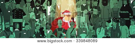 Santa Claus With Big Sack Standing Out From People Crowd Merry Christmas Happy New Year Holidays Cel