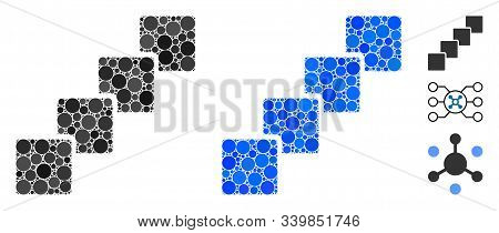 Blockchain Composition Of Round Dots In Different Sizes And Color Tones, Based On Blockchain Icon. V