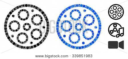 Bobbin Mosaic Of Small Circles In Various Sizes And Color Tones, Based On Bobbin Icon. Vector Random