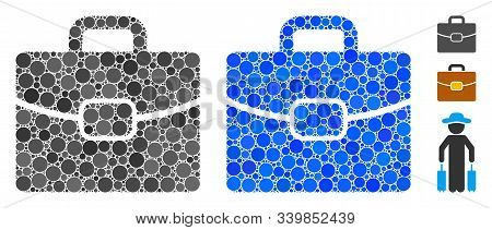 Briefcase Mosaic Of Spheric Dots In Various Sizes And Color Tones, Based On Briefcase Icon. Vector D