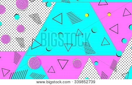 Deep Pink Flat Poster. Navy Dot Template. Geometric Composition. 80s Pattern. Violet Cool Illustrati