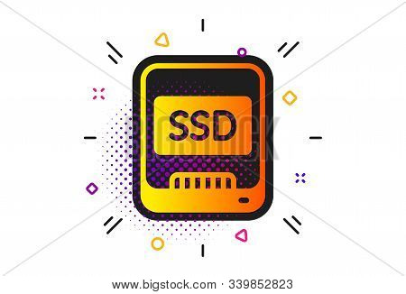 Computer Memory Component Sign. Halftone Circles Pattern. Ssd Icon. Data Storage Symbol. Classic Fla