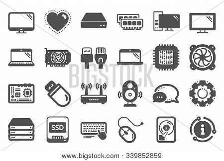 Computer Components, Laptop, Ssd Icons. Motherboard, Cpu, Internet Cables Icons. Wifi Router, Comput
