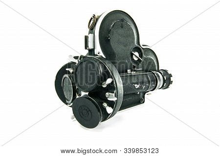 Cine Camera In Metal Camera Case In White Background.this 16mm Camera Was The First Professional Cin