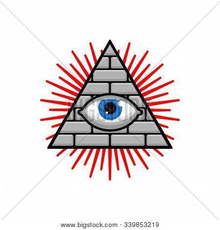 Symbol Of World Government. Pyramid With An Eye. All-seeing Eye.  Illuminati Conspiracy Theory. Sacr