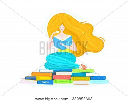 Redheaded Girl With Pile Of Books And Cup Of Tea. Bookworm. Reading. Woman Is Sitting On Book Stacks