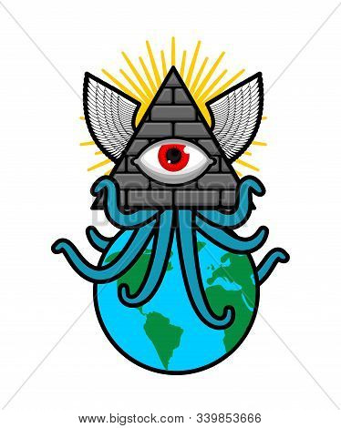 All-seeing Eye. Symbol Of World Government. Illuminati Conspiracy Theory. Sacred Sign. Pyramid With
