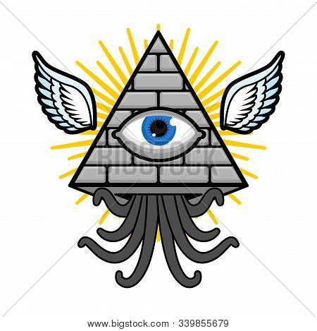 Pyramid With An Eye. All-seeing Eye. Symbol Of World Government. Illuminati Conspiracy Theory. Sacre