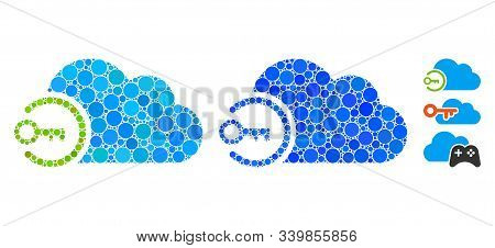 Cloud Login Mosaic Of Spheric Dots In Variable Sizes And Color Tinges, Based On Cloud Login Icon. Ve