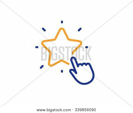 Click Rating Sign. Ranking Star Line Icon. Best Rank Symbol. Colorful Outline Concept. Blue And Oran