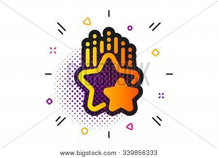 Star Rating Sign. Halftone Circles Pattern. Ranking Stars Icon. Best Rank Symbol. Classic Flat Ranki