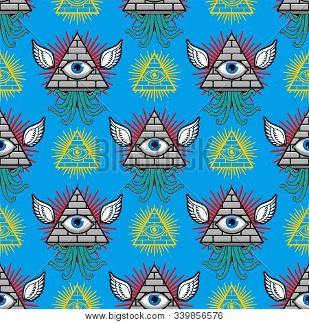 Pyramid With An Eye Pattern Seamless. All-seeing Eye Background. Symbol Of World Government. Illumin
