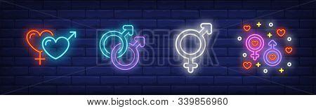 Different Couples Neon Sign Set. Heterosexual, Gay Relationships, Transgender Symbols. Vector Illust