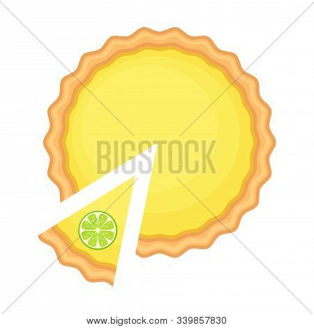 Traditional American Homemade Pumpkin Pie With Pie Slice And Lemon Of The Top Vector Illustration Is