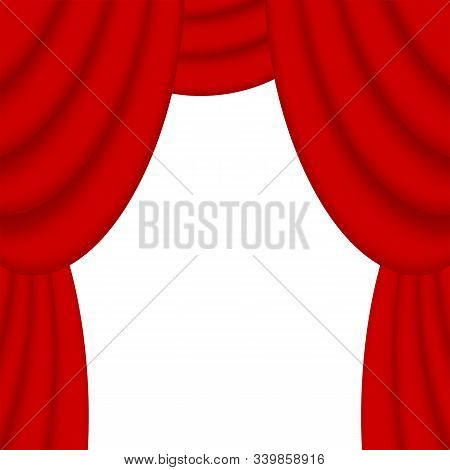 Red Theatrical Curtains Isolated On White Background