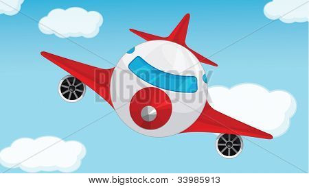 Illustration of a plane in blue sky - EPS VECTOR format also available in my portfolio.