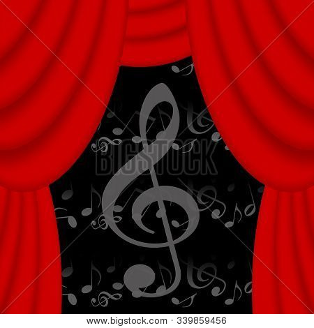 Music Theater Background With Red Curtains And Musical Notes
