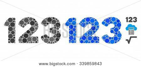 Digits Composition Of Filled Circles In Variable Sizes And Shades, Based On Digits Icon. Vector Fill
