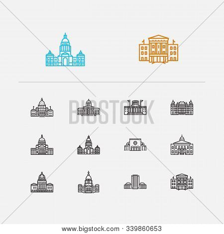 Building Icons Set. Arkansas State Capitol And Building Icons With Texas State Capitol, Skyscraper A
