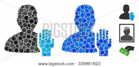 Elector Mosaic Of Round Dots In Various Sizes And Color Tinges, Based On Elector Icon. Vector Round