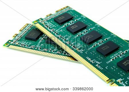 Two Computer Ram Random Access Memory On A White Background. The Concept Of Fast Work Technology, Pr